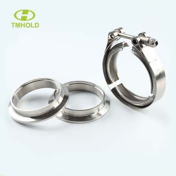 3.0 inch stainless steel turbocharger v-band clamp with turbo/blow exhaust wastegate flanges