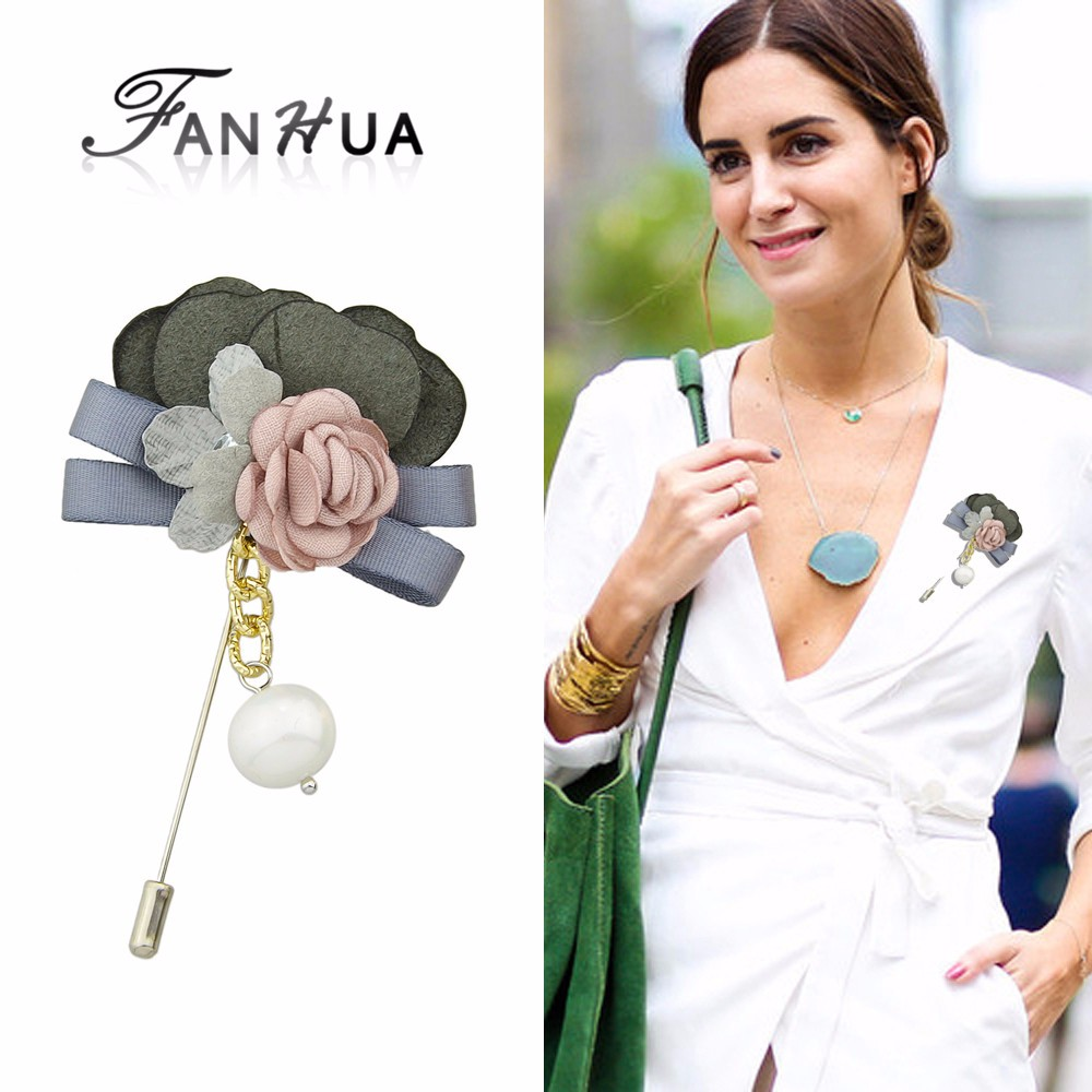 New Coming Pearl Colorful Suede Flower Shape Big Brooches