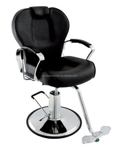 Stainless Base Hair Salon Styling Chair With Footrest Barber Chair Black PVC Seat