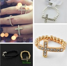 Hand made Sideway cross Rings ,Beaded Crystal Cross Ring/Elastic Ring