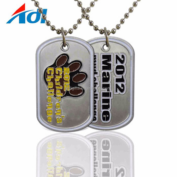 Cheap aluminum dog tag laser engraving / metal dog tag with ball chain