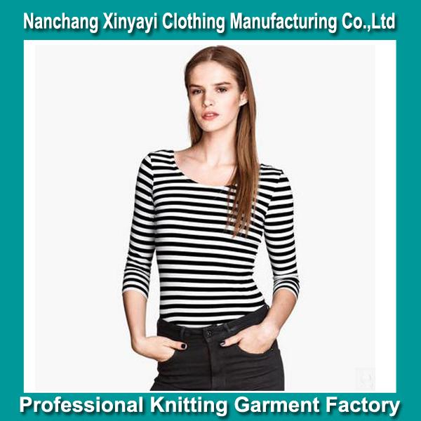black and white stripe t-shirt long sleeve European Brand Clothing Bulk Wholesale / China Imports Clothing