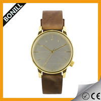 design your own brown leather 10 atm water resistant watch gold