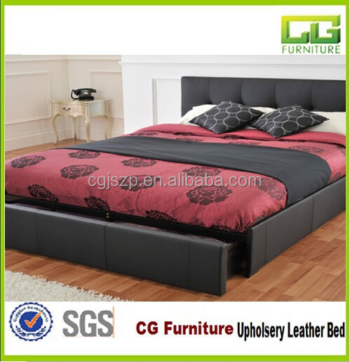 2015 single size modern wooden bed with leather cover with storage drawers high quality wooden - Single leather bed with drawers ...