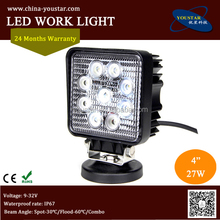 square 12 volt new 27w car led tuning light/ led work light for offroad vehicle