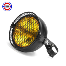 lack Amber Motorcycle Headlight Grill Retro Vintage Bracket Mask Mount Head Lamp For Cafe Racer