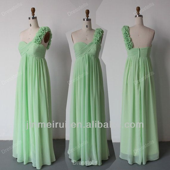 One Shoulder Bridesmaid Dress Mint Green Floor Length Chiffon Free Shipping HDQ6
