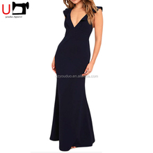 Sexy Deep V Neck Long Prom Dresess High Waist Fitted Sleeveless Backless Women Party Evening Dress