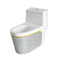 New design Luxury sanitary ware decorated washdown /siphonic one piece toilet