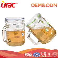 New Product Wholesale Drinkware Flower Printed Borosilicate handmade drinking water coffee clear glass cup