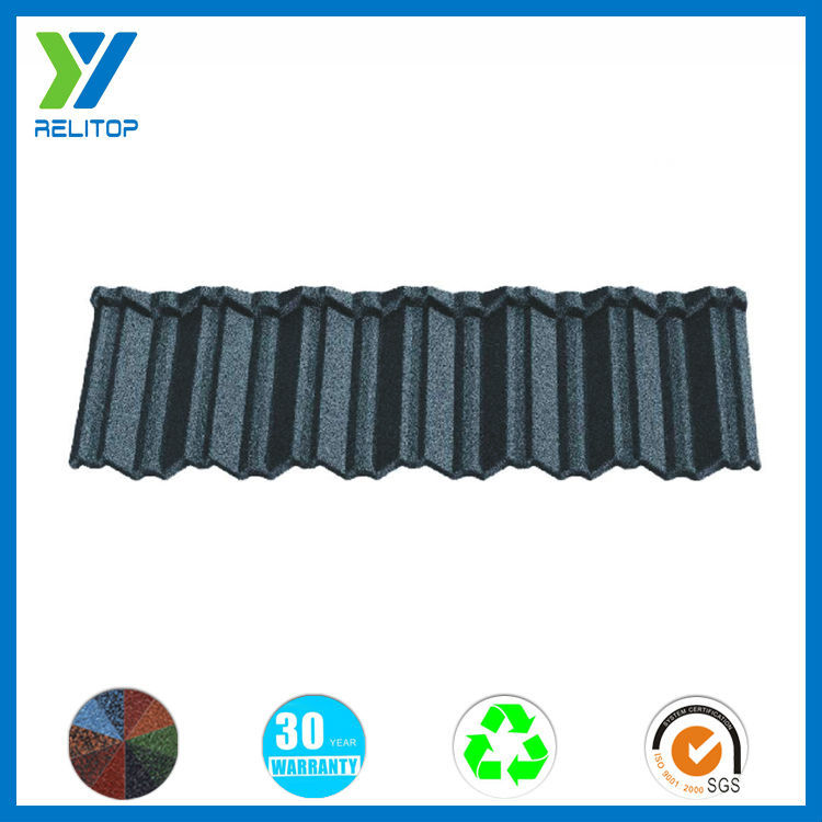 Eco-friendly house color stone chip coated metal roof tile