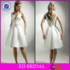 2014 Good Quality White Satin Sexy Short Country Wedding Dress In Cream Color