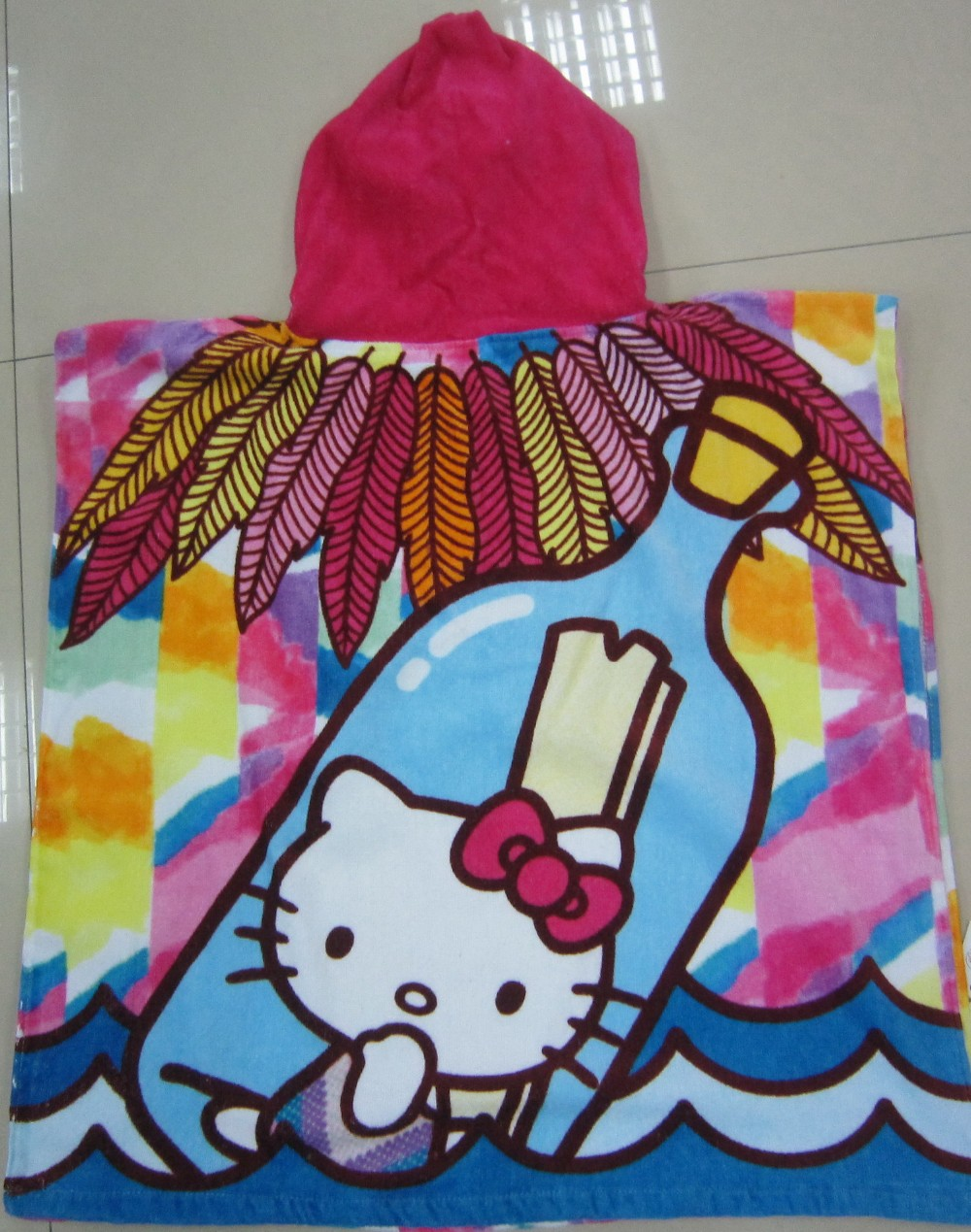 Wholesale Children Hooded Towel ,100% Cotton Printed Poncho Towel