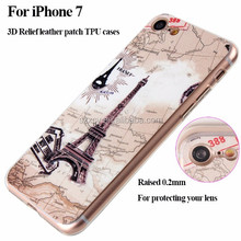 Fashion made 3D epoxy relief PU leather patch soft TPU mobile phone shell case for iPhone 7