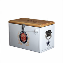 Wholesale metal cooler box with wooden lid and bottle opener outdoor cooler box