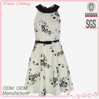 Newest Fashion Funky Flower Prints Flared Dresses Charming Party Dress with Waistband for Girls