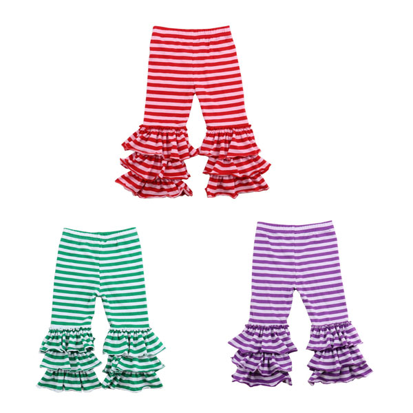 China Yiwu colorful triple ruffle leggings strip cotton litter baby pants kids knit pants icing baby leggings