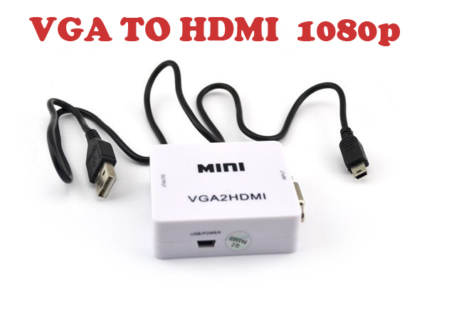 Hot sell Mini VGA TO HDMI Converter , Vga2hdmi Converter dengan with Audio 1080P 3D
