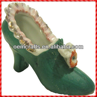 Vintage green elegant Ceramic Shoe