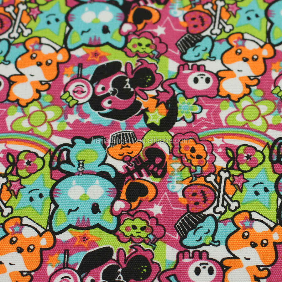 Wholesale animal printed cotton canvas fabric for bag material