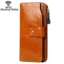 RFID Blocking Large Capacity Wax Real Leather Wallet Clutch Travel Purse for Women