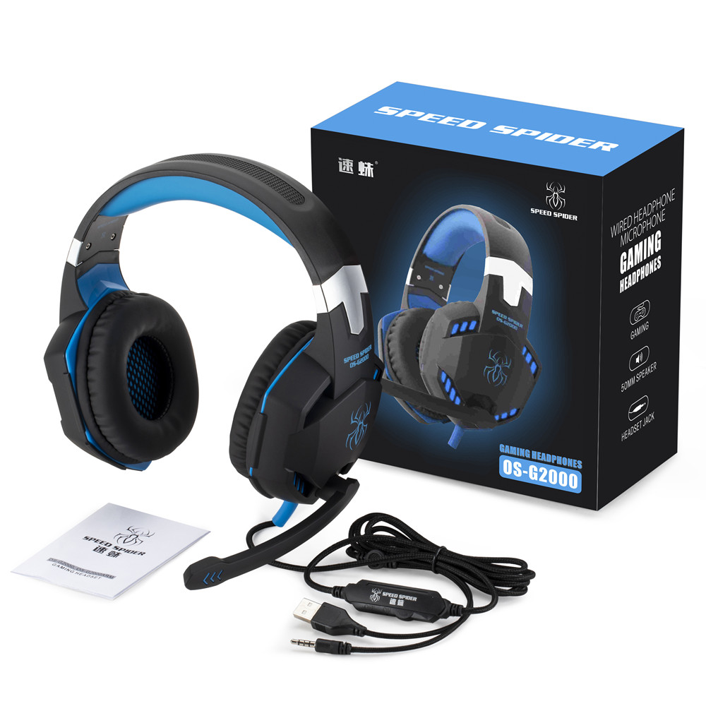 G2000 headset Noise Cancelling LED Colorful PC Gaming Headset 50mm neodymium driver headphone