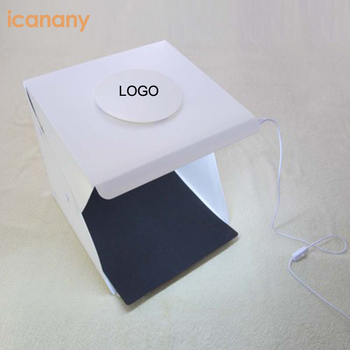 Laser logo  40/30/20cm  foldable portable photography studio light box with 4 colors EVA backdrops 2 LED stripes optional
