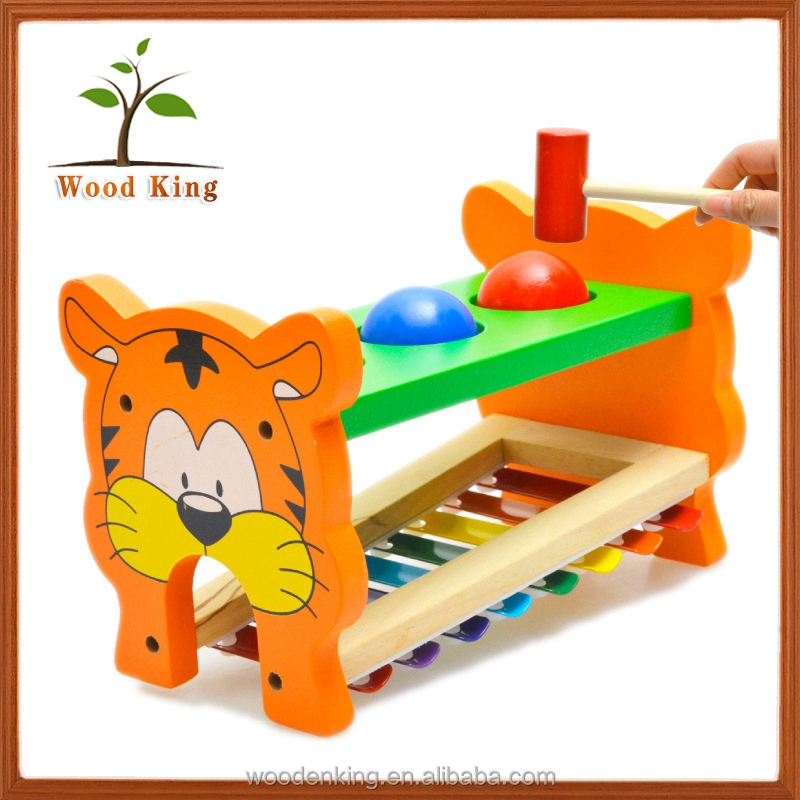 China Factory Tiger Wooden Toy Children Music Senses Musical Instruments New Children Baby Kids Toys 2017