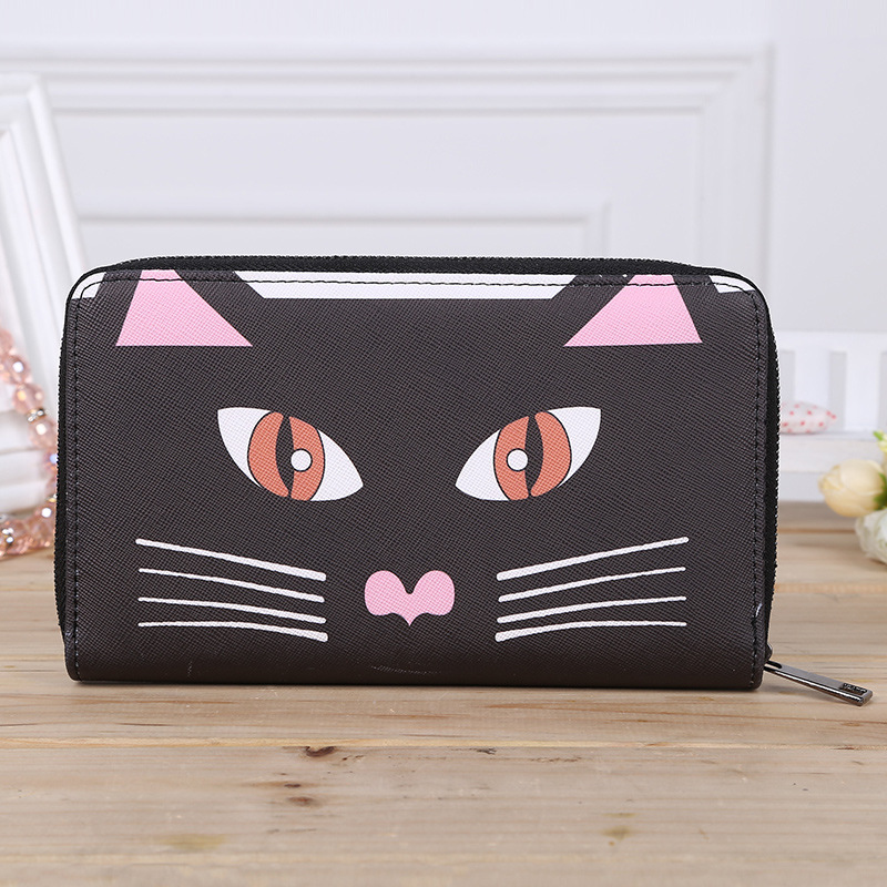 Multi-function Mobile Phone Bag Large Capacity European and American Fashion Style Ladies Wallets Black Cat Zipper Women Wallet