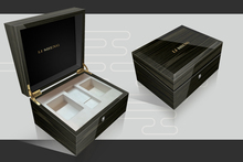 Black piano paint double slot wooden watch box