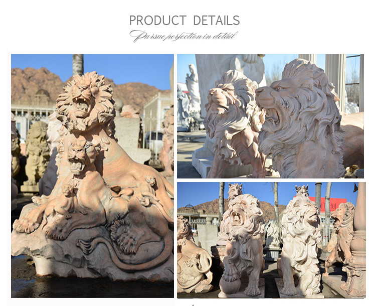 Red Marble Sleeping Lion Sculpture Outdoor Animal Statue NTBM-L115R