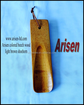 colored beech wood light brown shoehorn