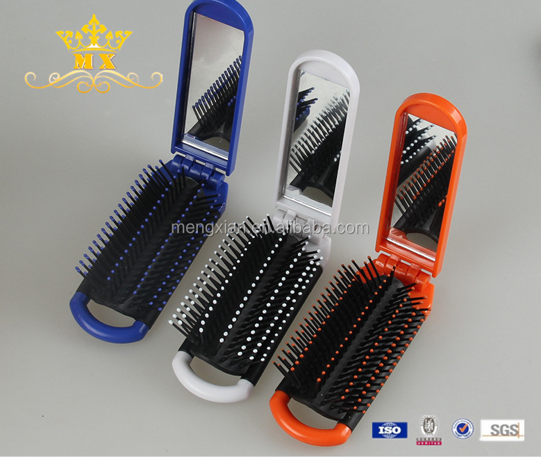 Folding Hair Brush With Mirror travel plastic foldable comb