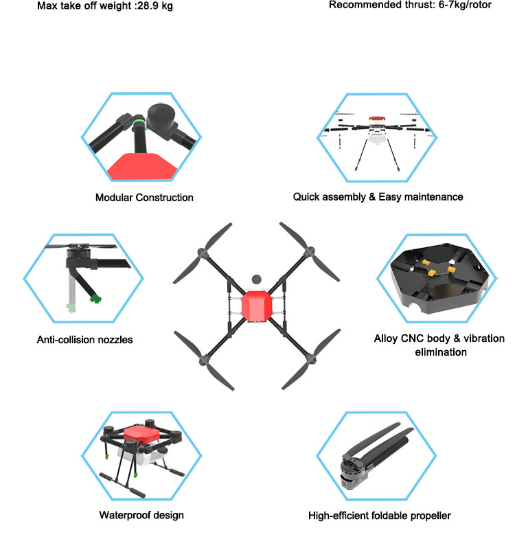 JMRRC New 4-axis Spray Agriculture drone w/10L spraying pump system Waterproof body  drone agriculture  Integrated Power System