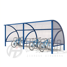 Public metal bicycle bike rack with shelter