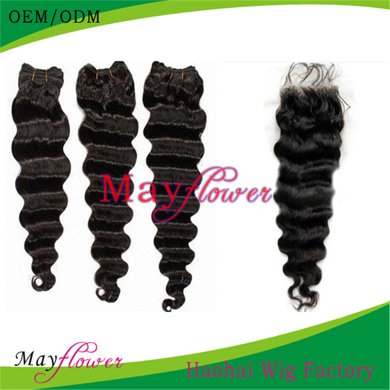 7A grade 1-2-3-4-5pcs virgin hair wefts Brazilian deep wave hair match with lace closures bleached knots full head