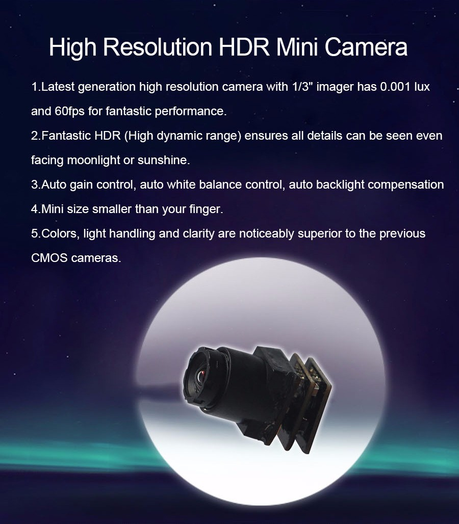 Factory wholesale 1000TVL smallest mini HDR CCTV Camera for security HDR FPV camera ( Dynamic Range120dB,full 60FPS, 90 degree)