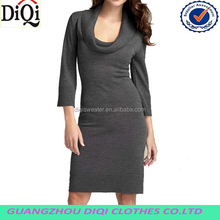 2014 comfortable winter long sexy deep neck sweater dress with dark grey in winter
