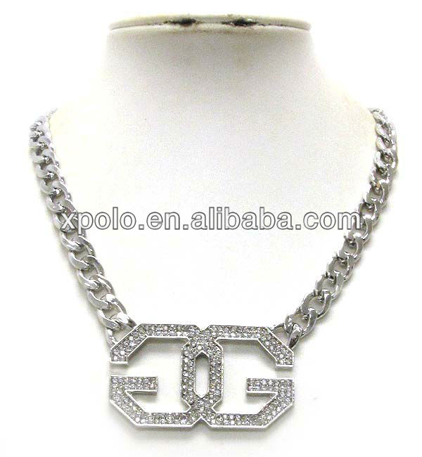 clear rhinestone cyrstal deco double g link and thick chain necklace