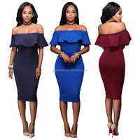 Wholesale Off Shoulder Fashion Summer Sexy Ladies Cocktail Dress
