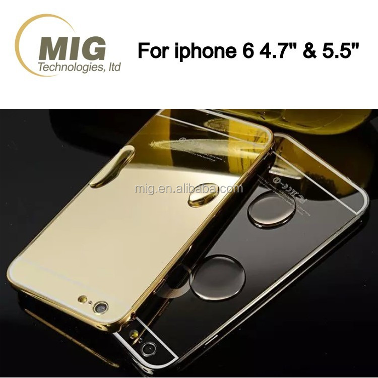 Luxurious High Quality For iPhone 6S For iPhone 7 Case Mirror Aluminum Metal bumper Plastic back Phone Case For Apple iPhone