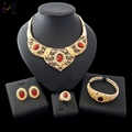 2018 African Wedding Jewelry Artificial Ruby Jewelry Cheap Bulk Gold Plated Jewelry