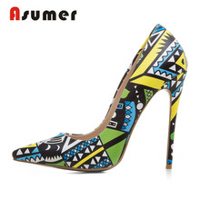 Asumer 2018 wholesale women graffiti sexy high heel shoes