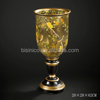 Deluxe Arts Home Decorative Candle Stick Holder Hand Painting Floor Standing Candle Holder Unique