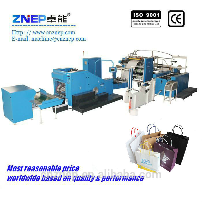ZD-F450Q High Speed Custom Luxury Paper Sweater Bag Making Machine with Handles