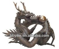 Bronze large dragon with ball statue sculpture