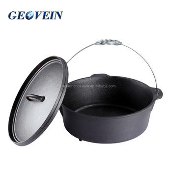 7 pieces set Non stick heat evenly cast Iron Three Legged dutch ovens for camping with lid and lifter