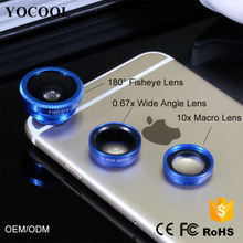3 in 1 Lens Kit 10X Macro 0.67X Wide Angle Super Fisheye Fish eye Mini Camera Lens Lenses for Samsung Galaxy s4 for Iphone 8 x 7