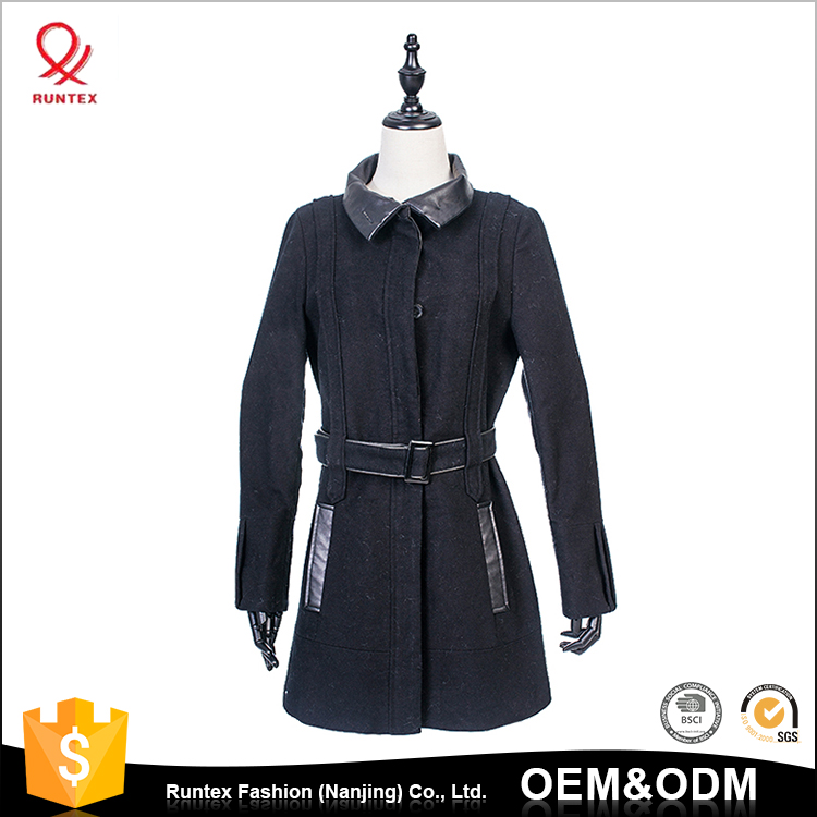 Women Fashion Spring autumn long wool jacket coat with belt and Pu leather details