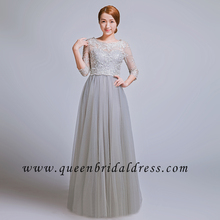 Inexpensive long sleeves bateau lace tulle floor length Evening Dresses party dresses